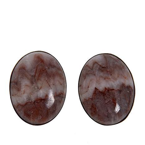 Jay King Sterling Silver Cloudy Sun Stone Oval Earrings