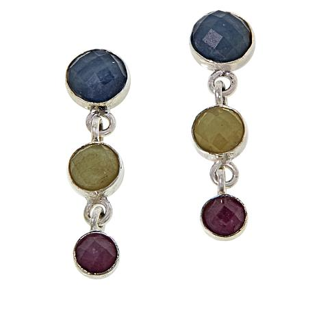 Jay King Sterling Silver Colors of Sapphire 3-Stone Earrings