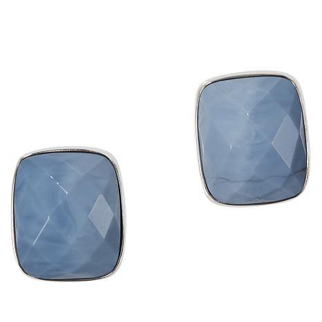 Jay King Sterling Silver Cushion-Cut Blue Opal Earrings