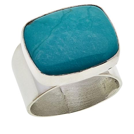 Jay King Sterling Silver Cushion-Cut Cloudy Mountain Turquoise Ring