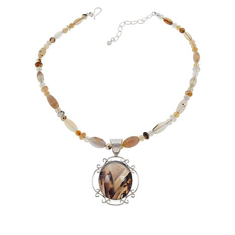 Jay King Sterling Silver Dendriband Agate Pendant with Beaded Necklace
