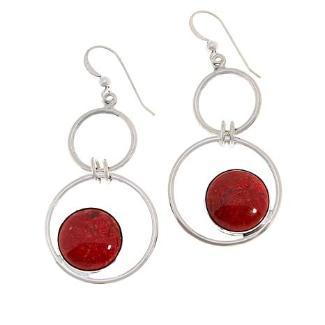 Jay King Sterling Silver Double Circle Floating Gemstone Drop Earrings