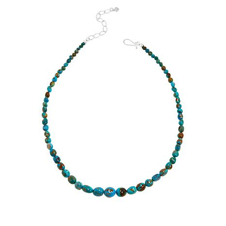 Jay King Sterling Silver Gold-Color Matrix Turquoise Bead Necklace
