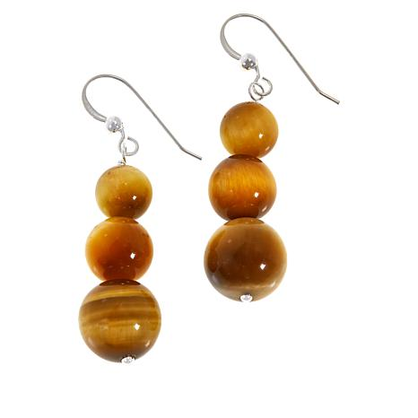 Jay King Sterling Silver Golden Tiger's Eye Bead Drop Earrings