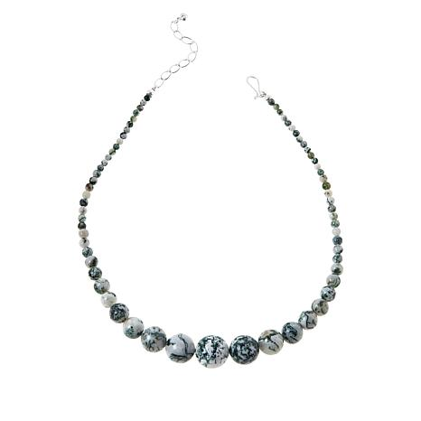 Jay King Sterling Silver Green and White Agate Graduated Bead Necklace