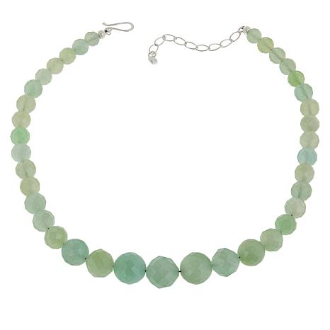 Jay King Sterling Silver Green Calcite Bead Necklace