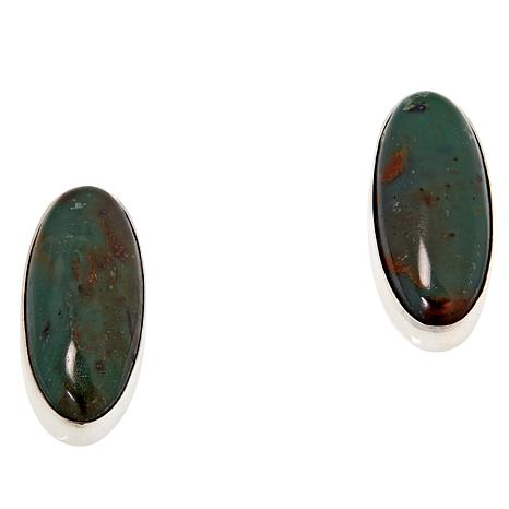 Jay King Sterling Silver Green Colorful Forest Jasper Earrings