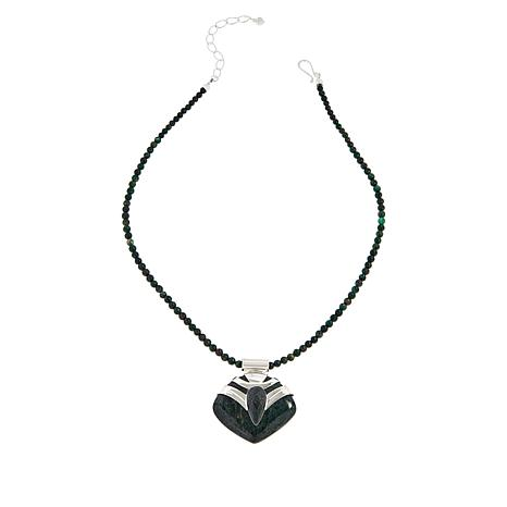 Jay King Sterling Silver Green Oasis Stone Pendant and Necklace