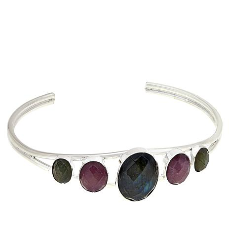 Jay King Sterling Silver Labradorite and Pink Sapphire Cuff Bracelet