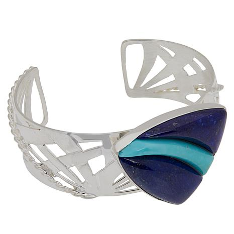 Jay King Sterling Silver Lapis and Campitos Turquoise Cuff Bracelet