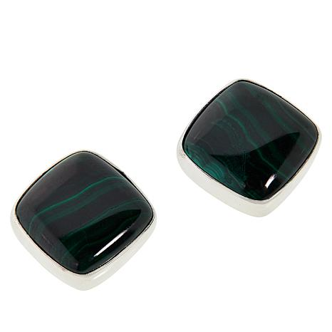 Jay King Sterling Silver Malachite Square Stud Earrings