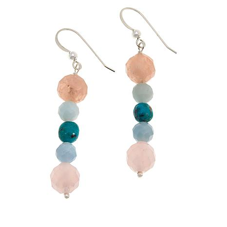 Jay King Sterling Silver Multi-Color Multi-Gemstone Bead Drop Earrings