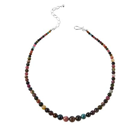 Jay King Sterling Silver Multi-Color Tourmaline Bead Necklace