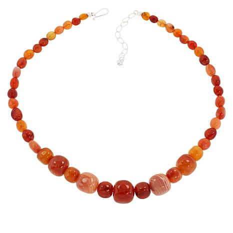 Jay King Sterling Silver Orange and Red Chalcedony Bead Necklace