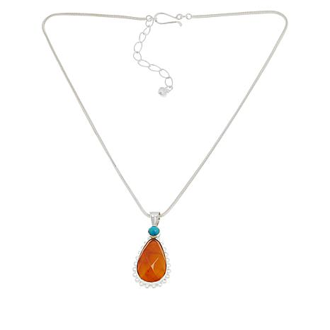 Jay King Sterling Silver Orange Opal and Turquoise Pendant with Chain