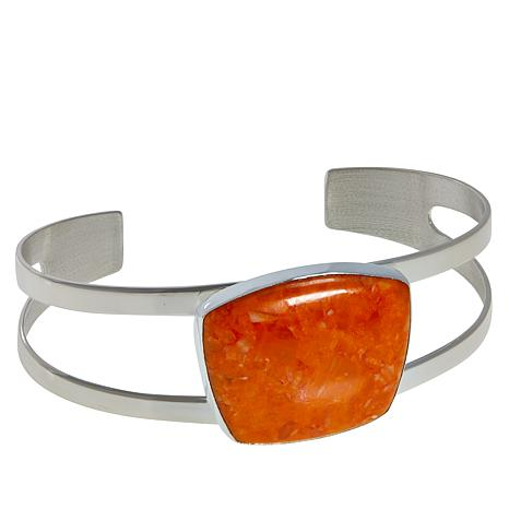 Jay King Sterling Silver Orange Spiny Shell Cuff