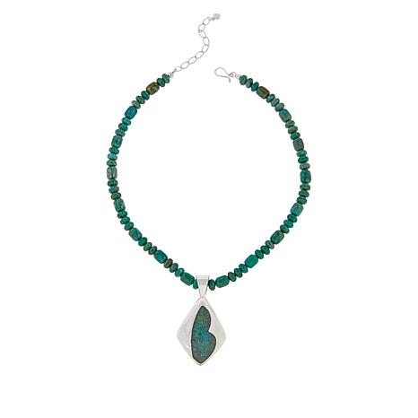 Jay King Sterling Silver Parrot Wing Stone Pendant with Necklace