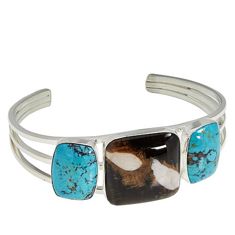 Jay King Sterling Silver Peanut Wood and Turquoise Cuff