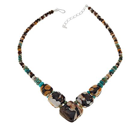 Jay King Sterling Silver Peanut Wood and Turquoise Necklace