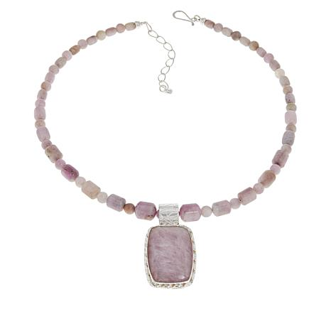 Jay King Sterling Silver Pink Kunzite Pendant with Beaded Necklace