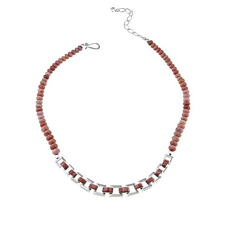 Jay King Sterling Silver Pink Opal Beaded Link Necklace