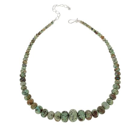 Jay King Sterling Silver Pistachio Chrysocolla Graduated Bead Necklace