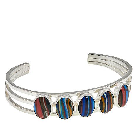 Jay King Sterling Silver Rainbow Calsilica Oval Stone Cuff Bracelet