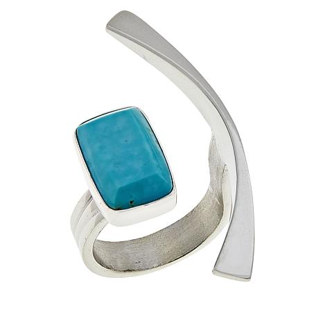 Jay King Sterling Silver Rectangular Sonoran Blue Turquoise Ring