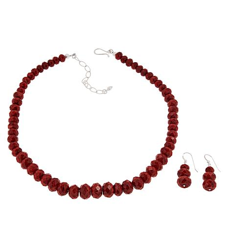 Jay King Sterling Silver Red Coral Bead Necklace and Earrings Set