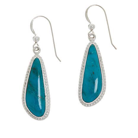 Jay King Sterling Silver Red Skin Turquoise Drop Earrings