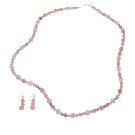 Jay King Sterling Silver Rose Quartz Necklace and Earrings Set