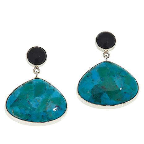 Jay King Sterling Silver Turquoise and Chalcedony Drop Earrings