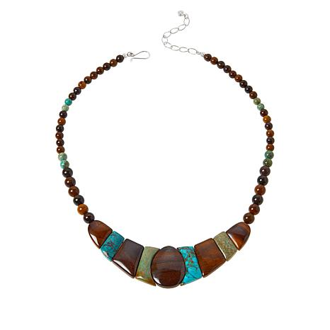 Jay King Sterling Silver Turquoise and Desert Sunset Jasper Necklace