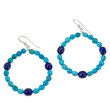 Jay King Sterling Silver Turquoise and Lapis Bead Hoop Drop Earrings
