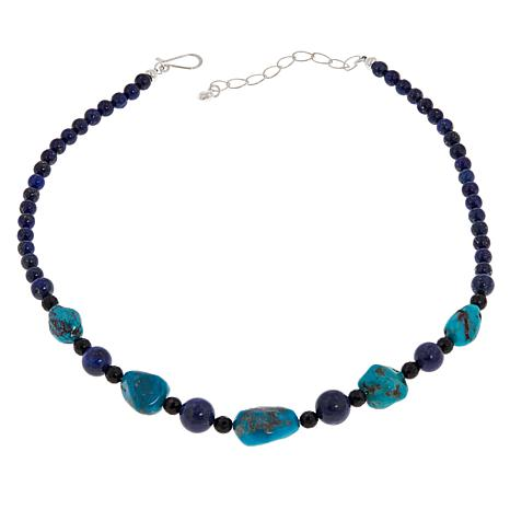 Jay King Sterling Silver Turquoise, Lapis and Chalcedony Bead Necklace