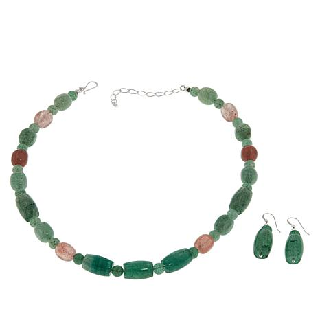 Jay King Strawberry Leaf Quartz Necklace and Earrings Set