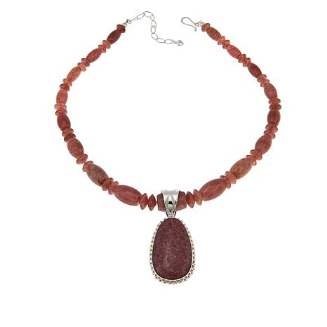 Jay King Strawberry Quartz Sterling Silver Pendant and Beaded Necklace