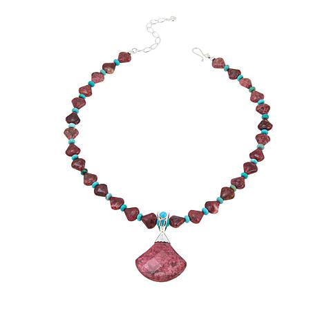 Jay King Thulite and Angel Peak Turquoise Pendant with Necklace