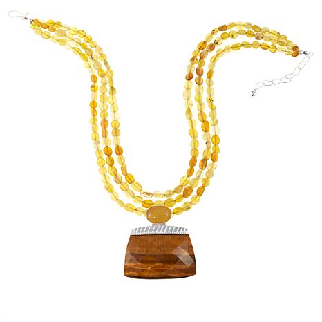 "Jay King Tiger's Eye and Yellow Opal 18"" Beaded Drop Necklace"