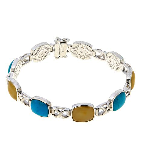 Jay King Turquoise and Amber Station Sterling Silver Line Bracelet