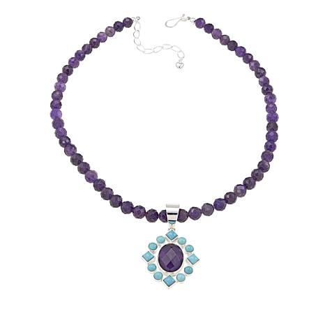 Jay King Turquoise and Amethyst Pendant with Beaded Necklace