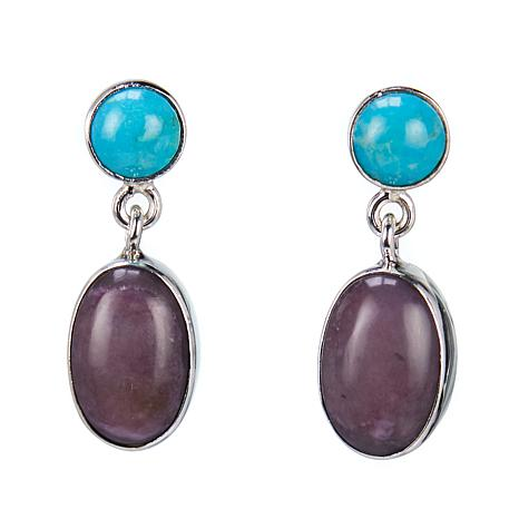 Jay King Turquoise and Charoite Drop Sterling Silver Earrings