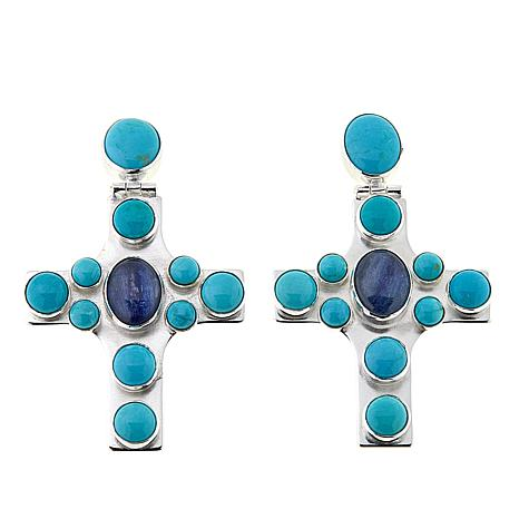 Jay King Turquoise and Kyanite Sterling Silver Halo Cross Earrings
