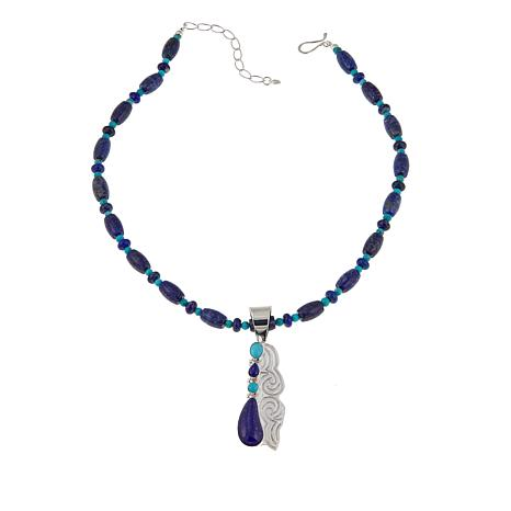 "Jay King Turquoise and Lapis Pendant with 18"" Necklace"