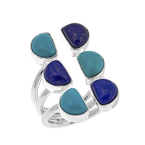 Jay King Turquoise and Lapis Split-Top Sterling Silver Ring