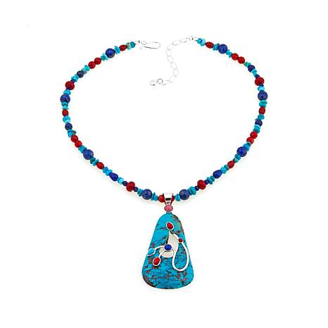 Jay King Turquoise and Multigem Pendant with Necklace