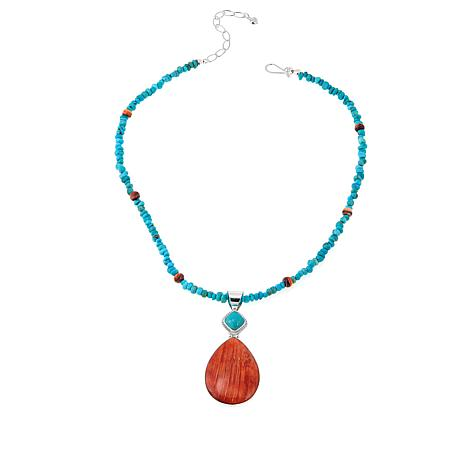 Jay King Turquoise and Orange Spiny Oyster Shell Pendant-Necklace