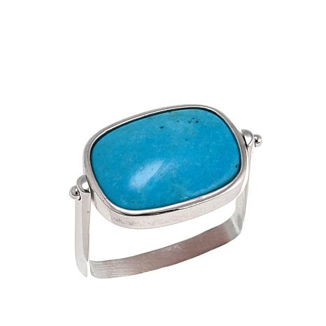 Jay King Turquoise and Pink Thulite Reversible Sterling Silver Ring