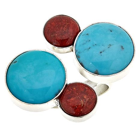 Jay King Turquoise and Red Coral Sterling Silver Circle Ring