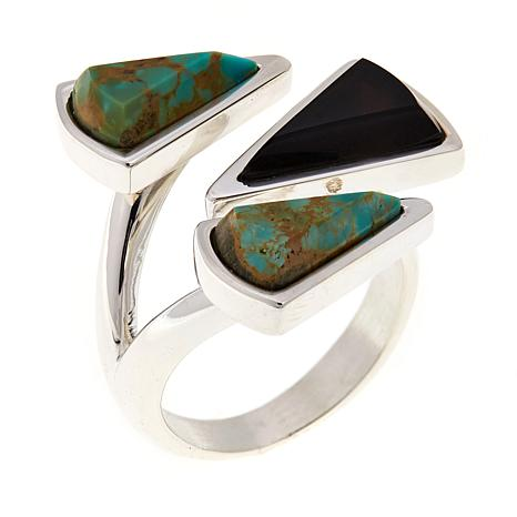 Jay King Turquoise and Smoky Quartz Bypass Ring